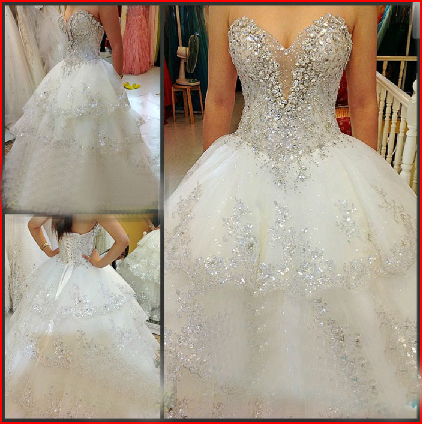 Crystaled Bling Bling Bridal Dress with Tiered Skirt 2018