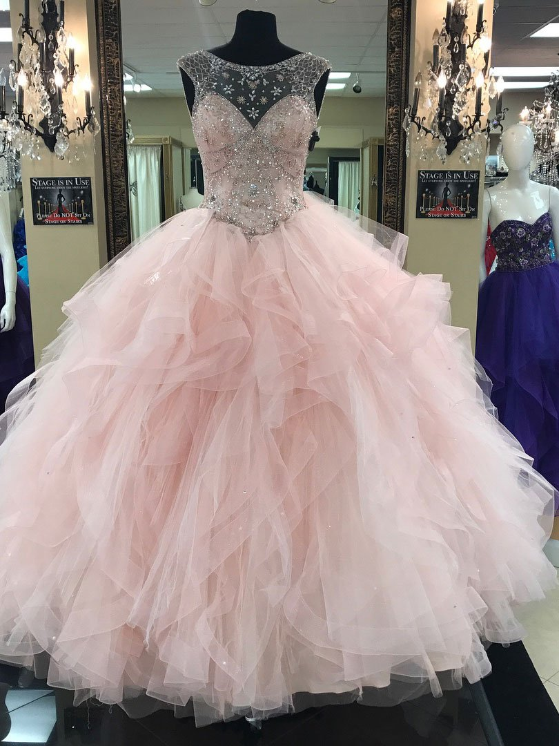Light Pink Ball Gown,Illusion Neck Tulle Skirt Quinceanera Dresses ...
