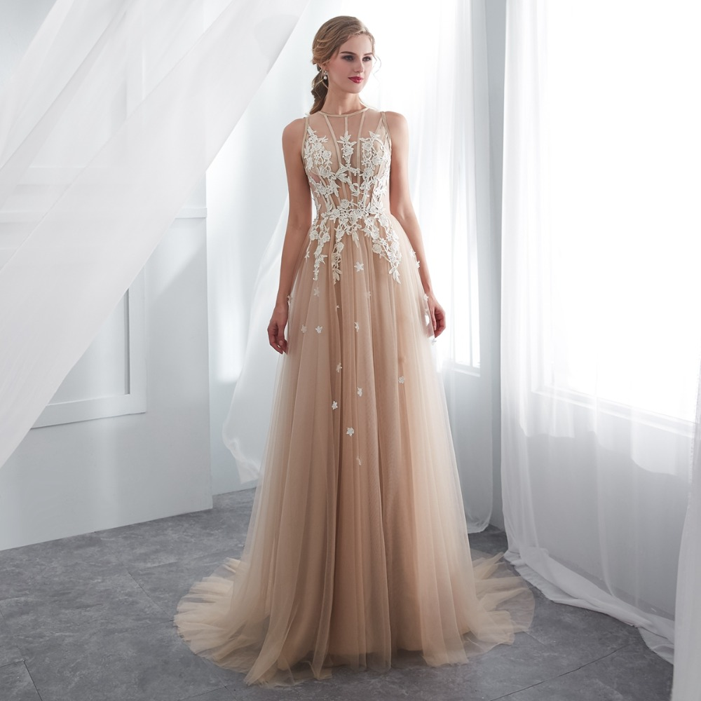 7bdd07a3d0 Champagne Prom Dresses Walk Beside You O-neck Transparent Lace Applique  A-line Sleeveless Sweep Train Long Party Evening Gowns 2019