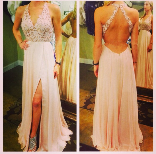 109f93819e Halter V-Neck Lace A-line Long Prom Dress