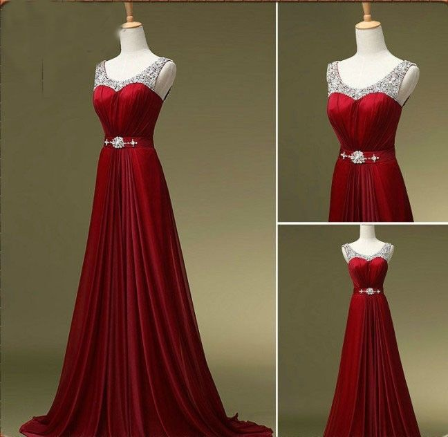 Beaded Embellished Scoop Neck Sleeveless Red Chiffon Floor Length A-Line Formal  Dress baa14d4e885f