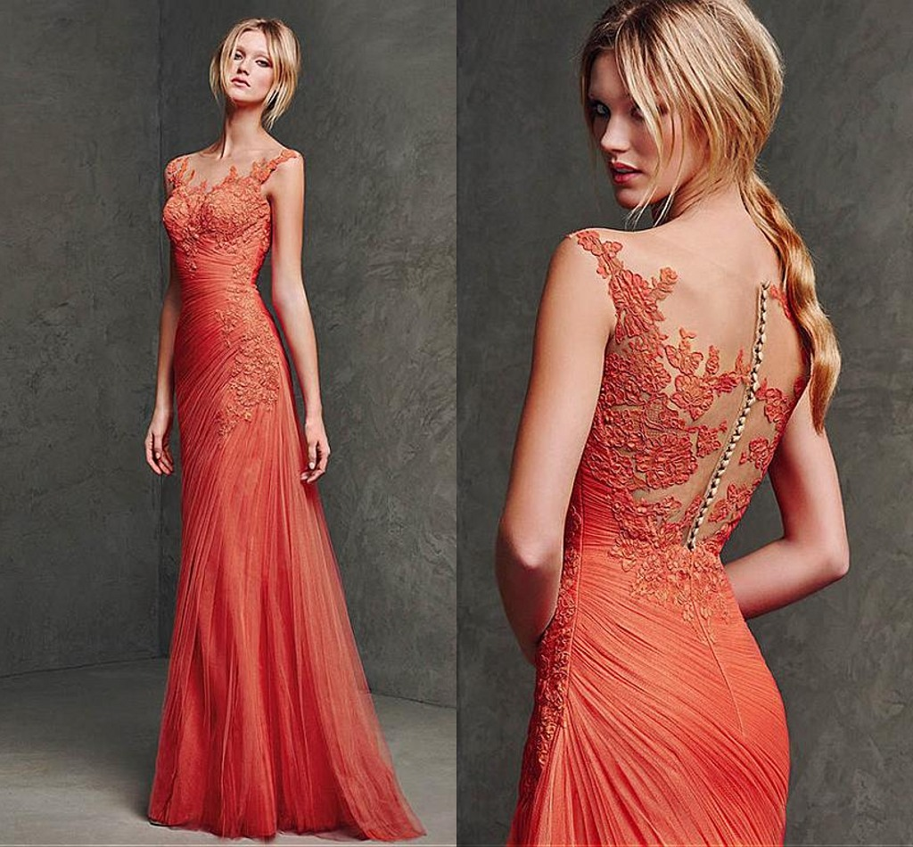 dab1a114bf6 Lace Appliqués Plunge V Illusion Floor Length Formal Dress