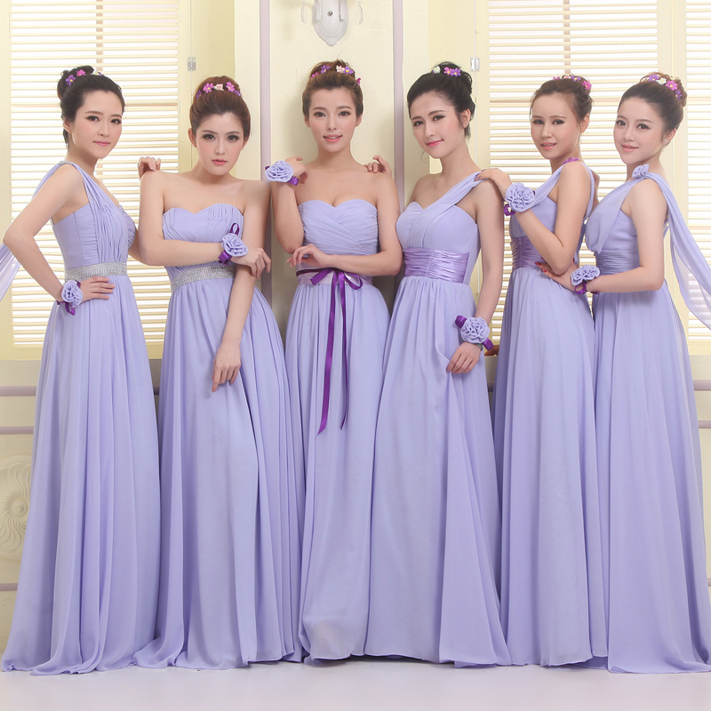Custom Made Necklines And Colours A-line Floor-Length Bridesmaid ...
