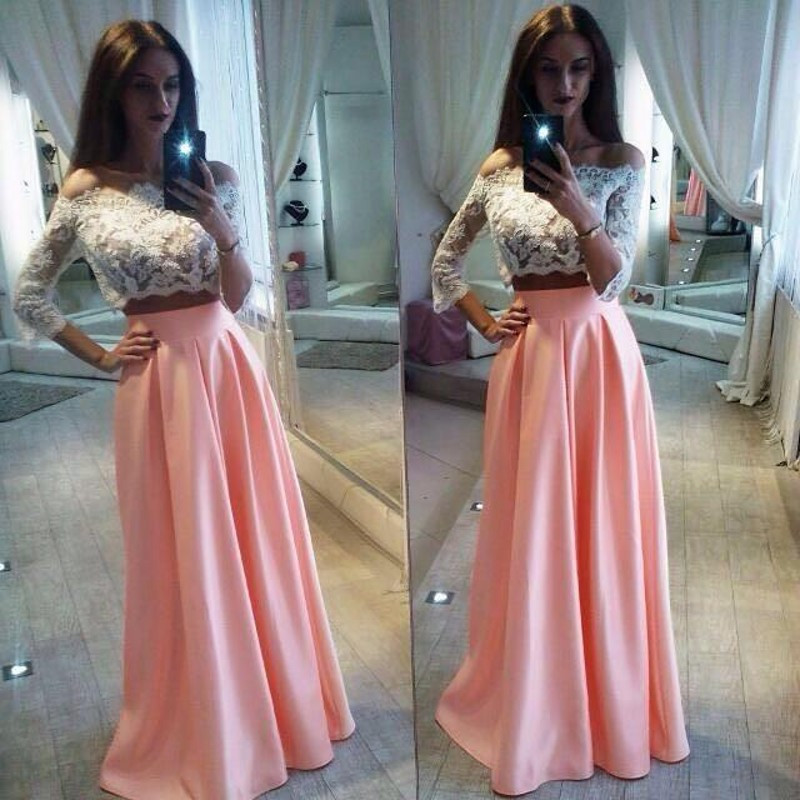 Off-the-Shoulder Lace Two-Piece Satin A-line Long Prom Dress ...