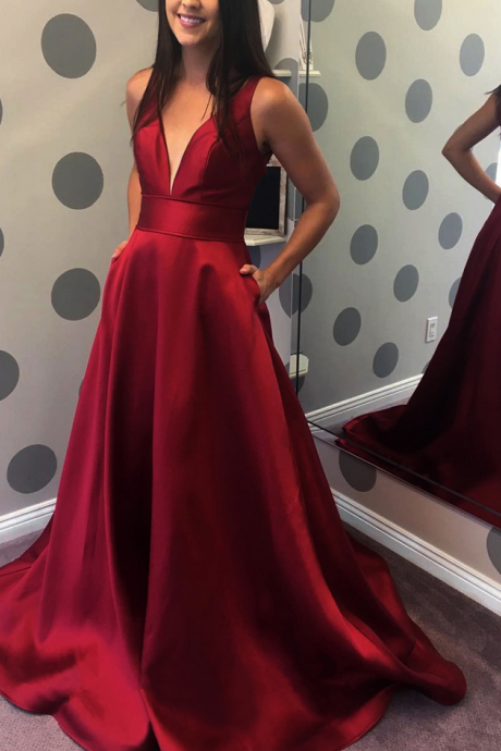 Satin Prom Dress,Spaghetti Straps V Neck Simple Elegant Long Satin Prom Dress 2018
