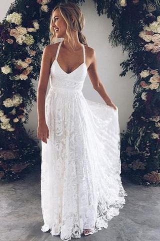 White v neck lace long prom dress, white evening dress wedding dress charming bridal dresses