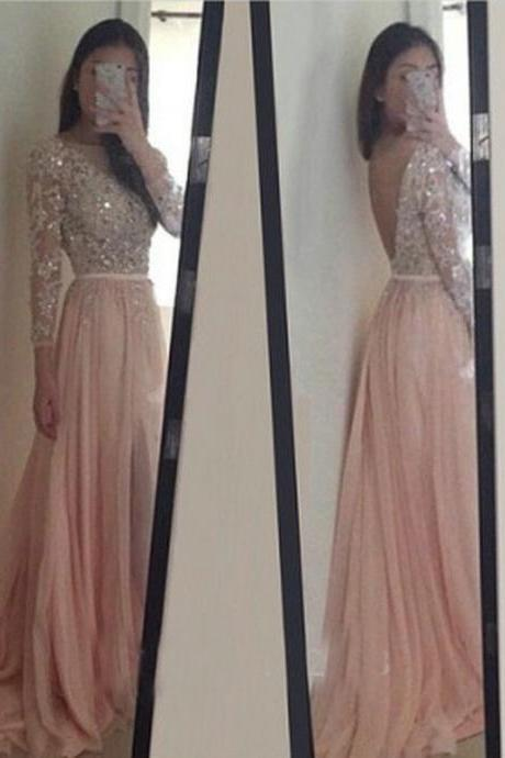 Sparkle Exquisite Pink Prom Dresses,Long Sleeves Beadings Crystal Chiffon Prom Dress 2016
