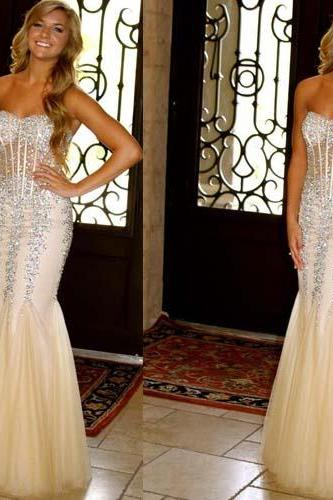 long prom dress, champagne prom dress, sparkle prom dress, mermaid prom dress, charming prom dress, party prom dress, long evening dress