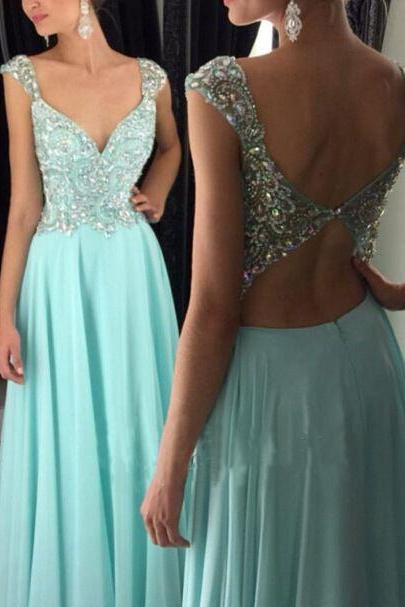 Charming Cap Sleeve Crystal Beaded Long Prom Dress,Keyhole Back Prom Dress,Homecoming Dress Long ,Prom Dress for Juniors,Evening Dress for Women ,Formal Gown