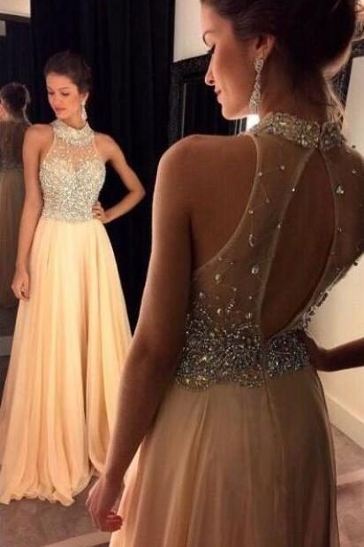 Halter Beaded A-line Floor-Length Prom Dress, Evening Dress