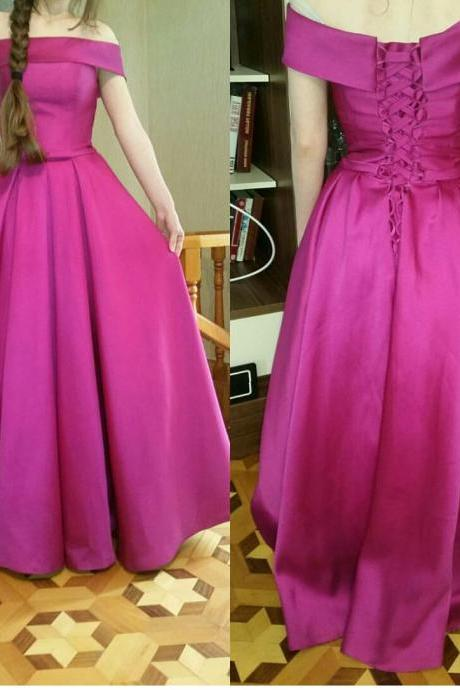 Off-the-Shoulder Satin A-line Floor-Length Prom Dress, Evening Dress Featuring Lace-Up Back