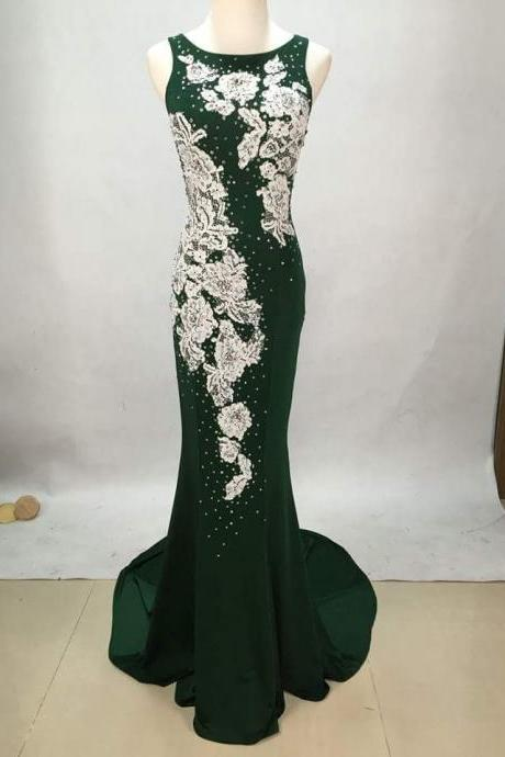 Sexy white lace applique green chiffon long prom dress