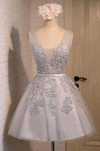 Lovely Grey Tulle Homecoming Dresses with Lace Applique, Short Homecoming Dresses, Party Dresses