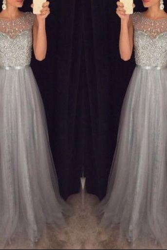 2016 New Arrival Beading Prom Dresses,Charming Gray Evening Dresses,A-line Modest Prom Gowns,Long Prom Gowns
