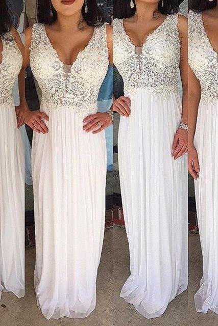 White Evening Prom Gowns Sexy V neck Appliques Beaded Chiffon Long Party Dress Evening Gown