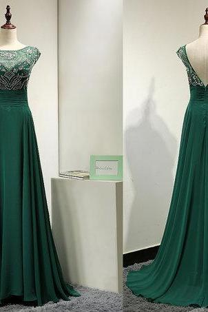 Hot sale beaded green backless long chiffon Prom Dresses 2017