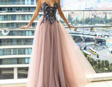 Sparkle Beaded Sleeveless Prom Dresses, Cheap Tulle A-Line Prom Dresses 2019