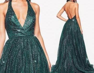 Charming Sequin Deep V-neck Sleeveless Long Prom Dresses Party Dresses 2019