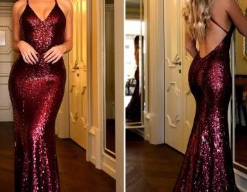 Chic Burgundy Prom Dresses Long Mermaid Modest Cheap Long Evening Dress Formal dress party dress 2019