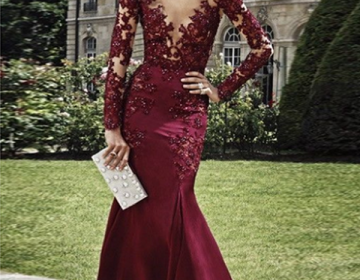 burgundy prom dresses, Sheath Column V-neck Floor-length Elastic Woven Satin Evening Dress Formal dress party dress 2019